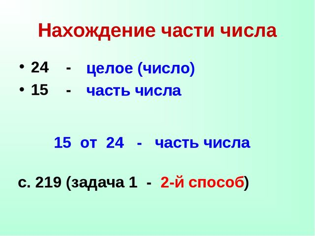 Нахождение части числа 24 - 15 - целое (число) часть числа 15 от 24 - часть ч...