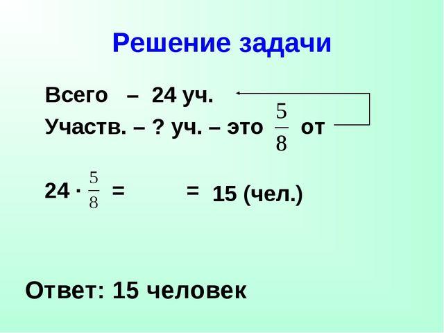 Решение задачи Всего – 24 уч. Участв. – ? уч. – это от Ответ: 15 человек 24 ·...
