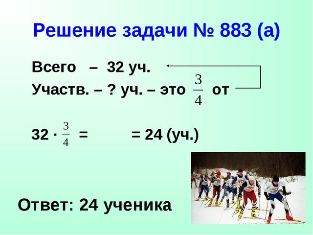 Решение задачи № 883 (а) Всего – 32 уч. Участв. – ? уч. – это от Ответ: 24 уч...