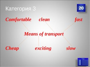 Категория 3 Comfortable clean fast Means of transport Cheap exciting slow