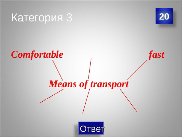Категория 3 Comfortable fast Means of transport