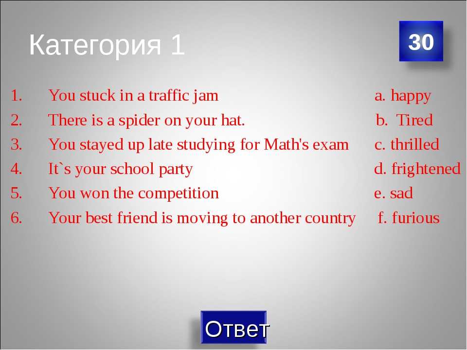 Категория 1 You stuck in a traffic jam a. happy There is a spider on your hat...