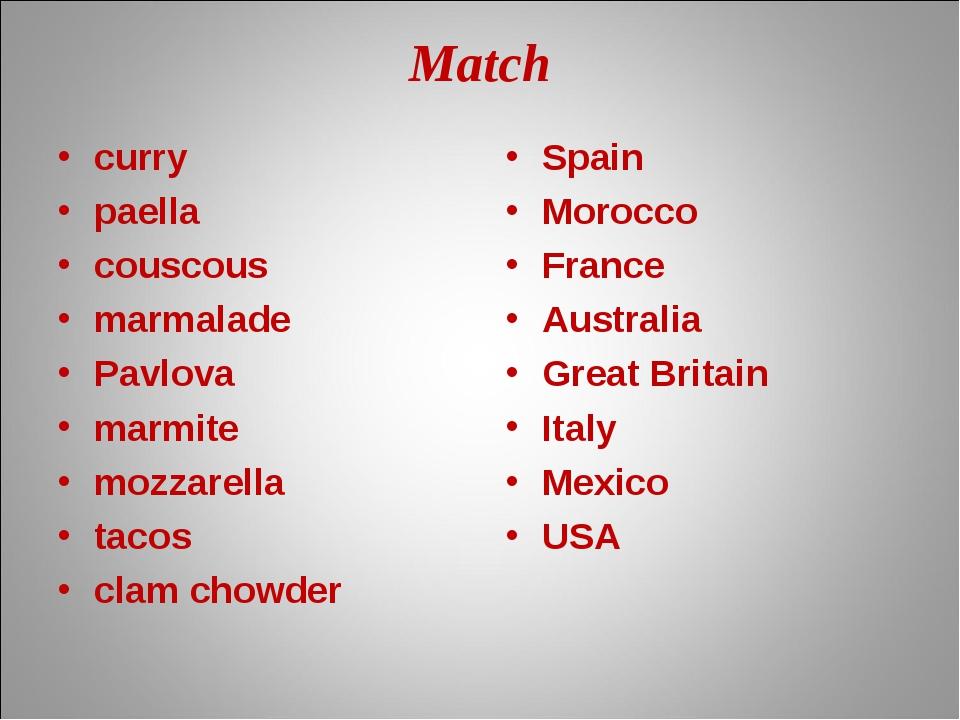 Match curry paella couscous marmalade Pavlova marmite mozzarella tacos clam c...