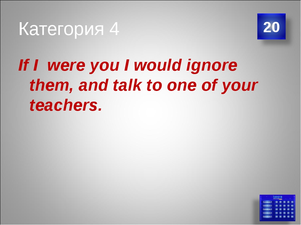 Категория 4 If I were you I would ignore them, and talk to one of your teache...