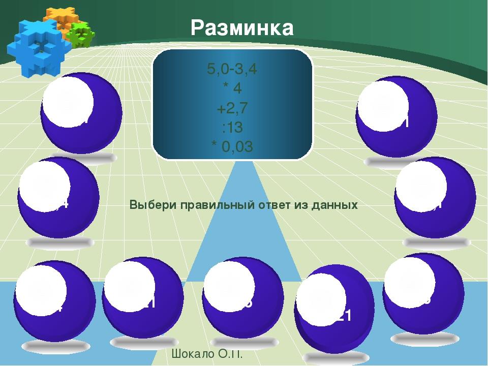 Разминка Шокало О.П. 5,0-3,4 * 4 +2,7 :13 * 0,03 Выбери правильный ответ из д...