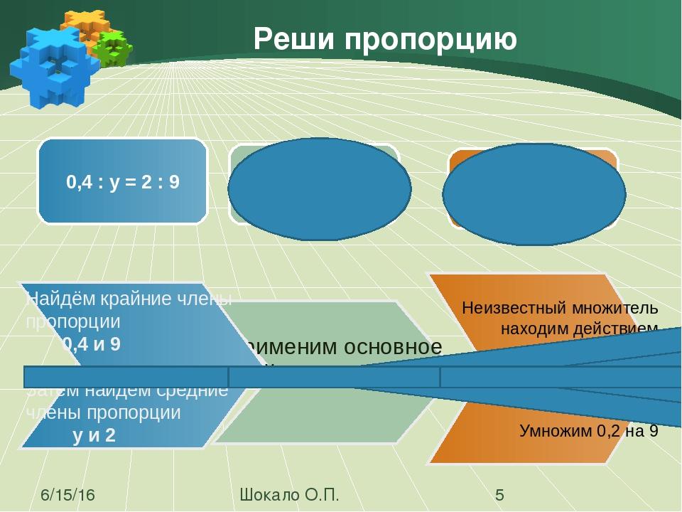 Решения: Найди неизвестный член пропорции Шокало О.П. 1 2 3 4 Х :39=0,8:1,3 Х...