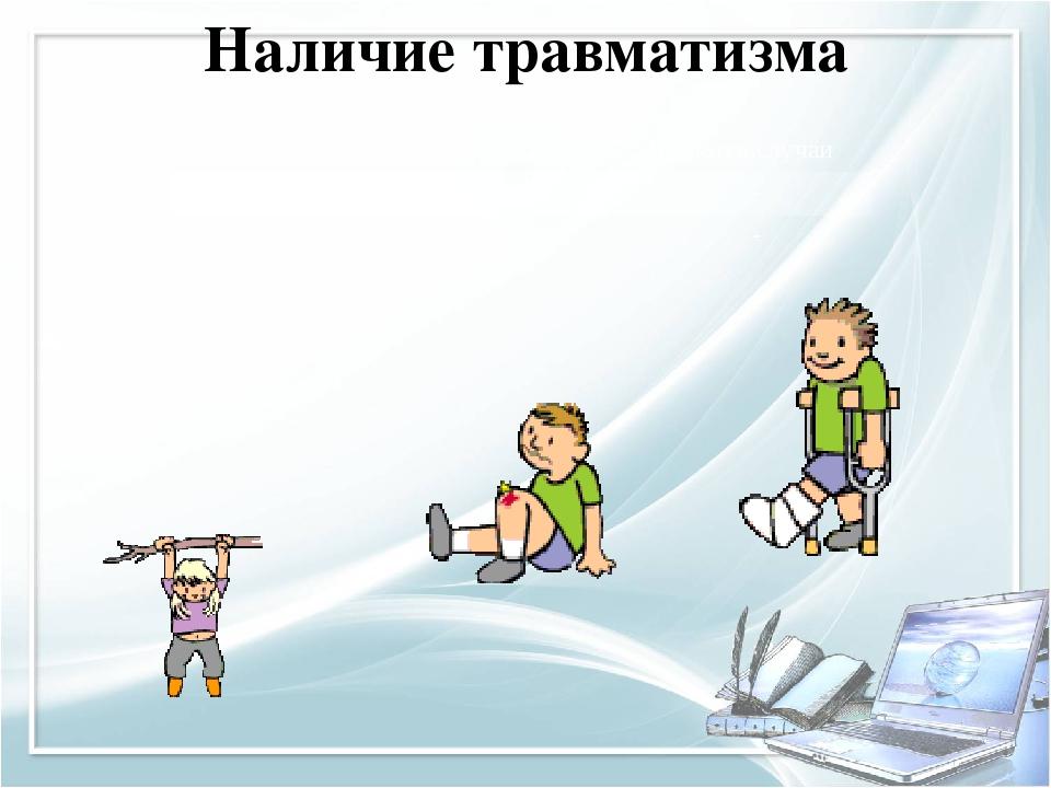 Наличие травматизма Учебный год отсутствует Имеются случаи 2013-2014 год 100%...