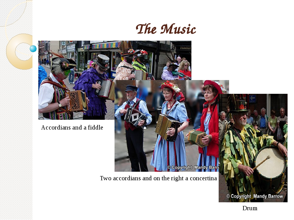 The Music Accordians and a fiddle Two accordians and on the right a concertin...
