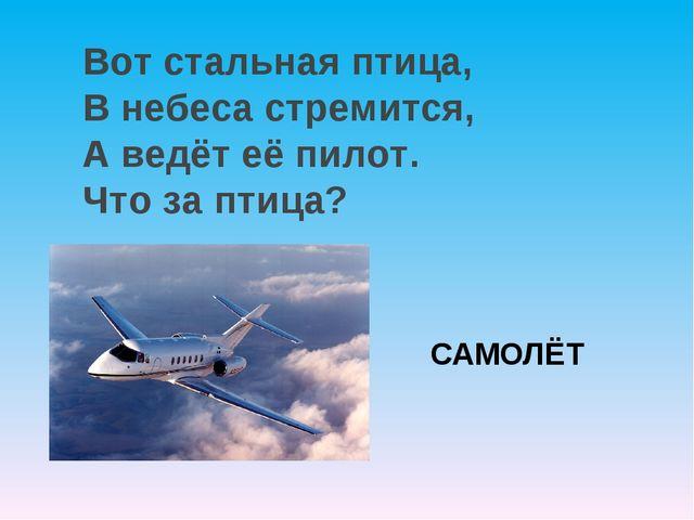 САМОЛЁТ Вот стальная птица, В небеса стремится, А ведёт её пилот. Что за птица?