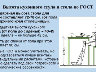Высота кухонного стула и стола по ГОСТ Стандартная высота стола для кухни сос