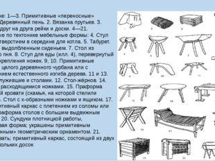 Рисунок ниже: 1—3. Примитивные «переносные» сиденья: 1. Деревянный пень. 2. В