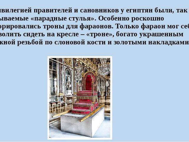 Привилегией правителей и сановников у египтян были, так называемые «парадные...