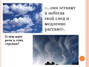 «...они оставят в небесах свой след и медленно растают». О чём идёт речь в эт