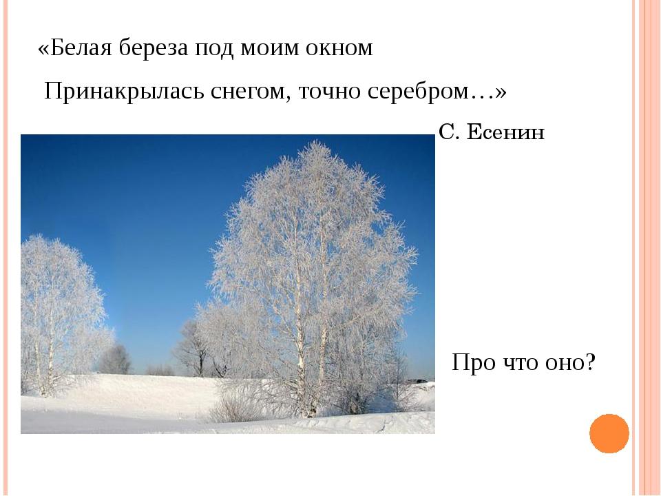 «Белая береза под моим окном Принакрылась снегом, точно серебром…» С. Есенин...