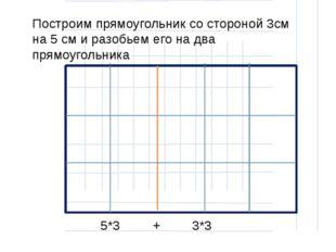 Построим прямоугольник со стороной 3см на 5 см и разобьем его на два прямоуг
