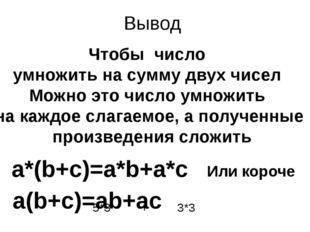 Вывод Чтобы число умножить на сумму двух чисел Можно это число умножить на ка