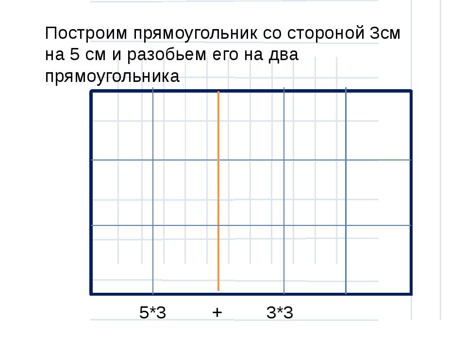 Построим прямоугольник со стороной 3см на 5 см и разобьем его на два прямоуг...