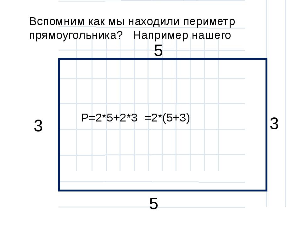 Вспомним как мы находили периметр прямоугольника? Например нашего P=2*5+2*3...