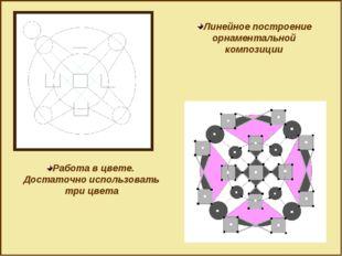 Линейное построение орнаментальной композиции Работа в цвете. Достаточно испо