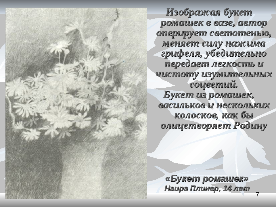 Изображая букет ромашек в вазе, автор оперирует светотенью, меняет силу нажим...