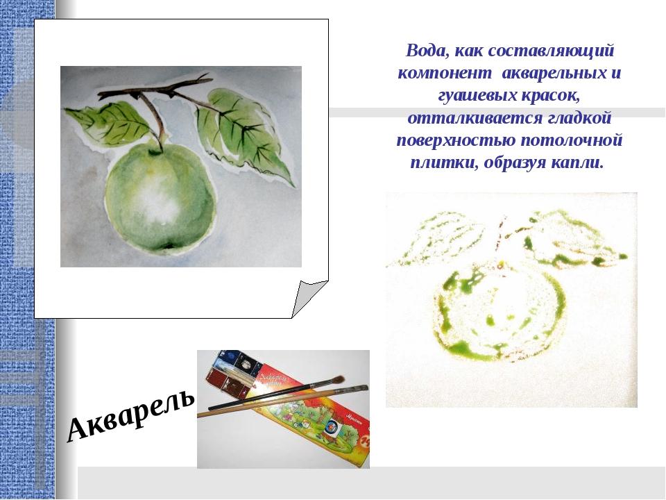 Акварель Вода, как составляющий компонент акварельных и гуашевых красок, отта...
