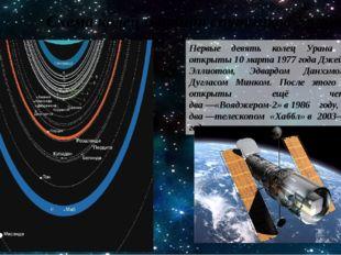 Схема колец и орбит спутников Урана Первые девять колец Урана были открыты10