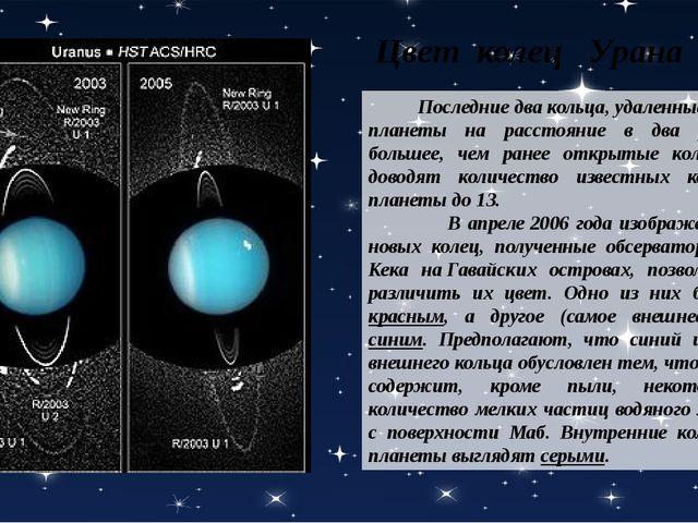 Последние два кольца, удаленные от планеты на расстояние в два раза большее,...
