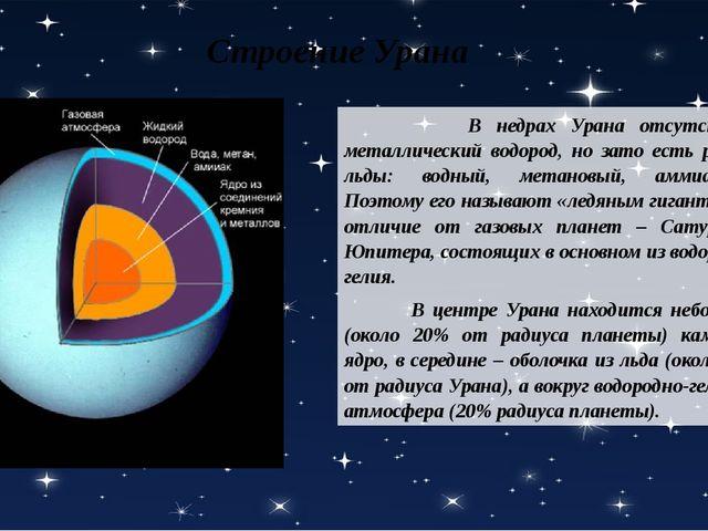 Строение Урана В недрах Урана отсутствует металлический водород, но зато есть...