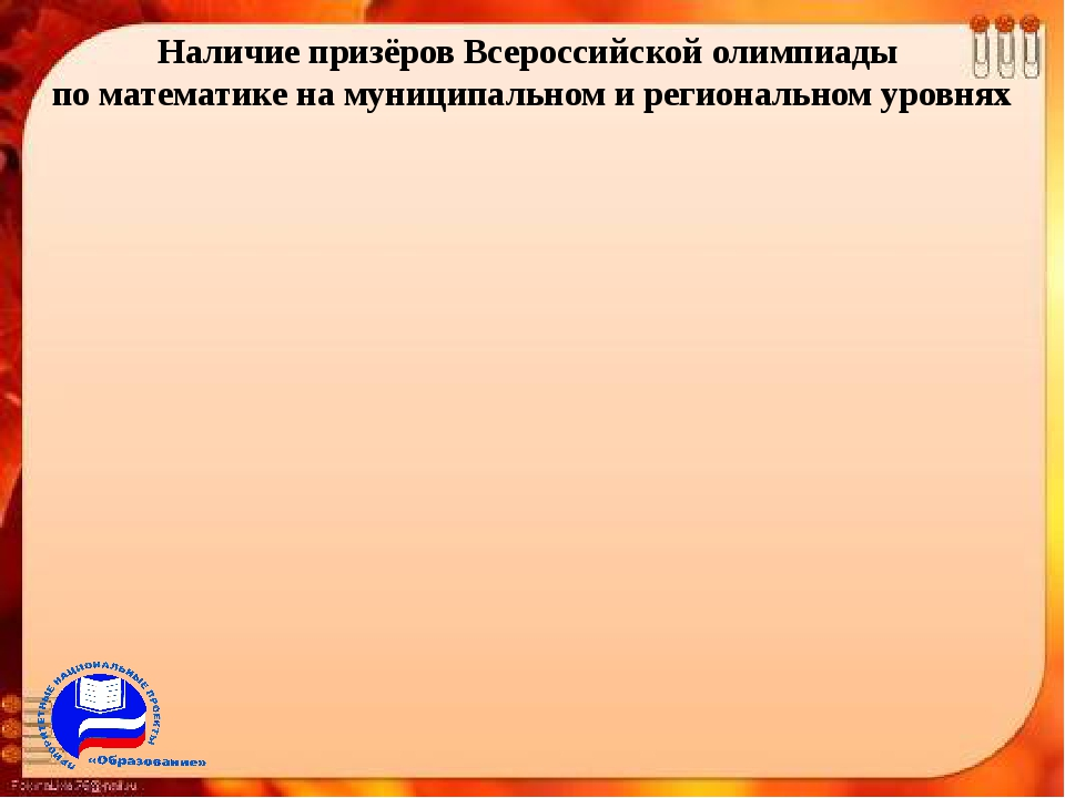 Наличие призёров Всероссийской олимпиады по математике на муниципальном и рег...