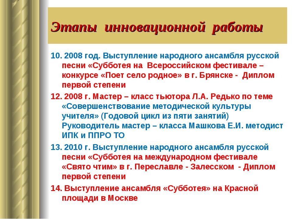 Этапы инновационной работы 10. 2008 год. Выступление народного ансамбля русск...
