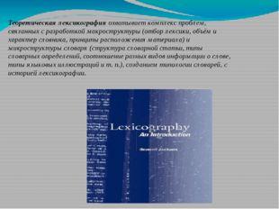 Теоретическая лексикография охватывает комплекс проблем, связанных с разработ