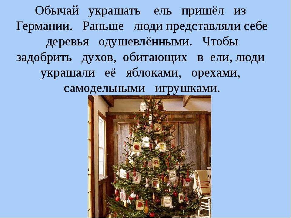 Обычай украшать ель пришёл из Германии. Раньше люди представляли себе деревья...