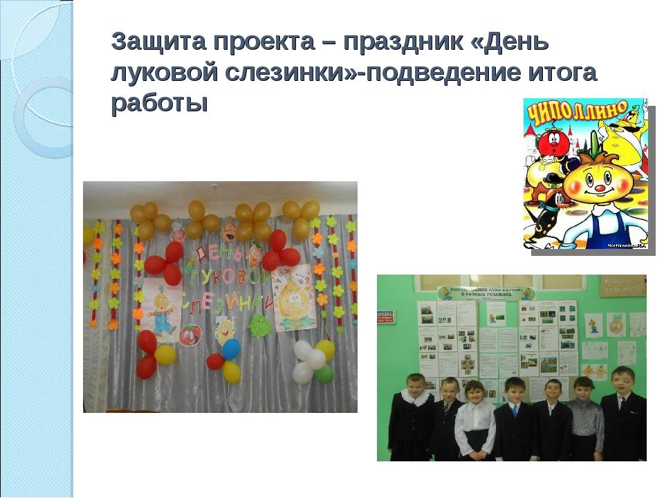 Защита проекта – праздник «День луковой слезинки»-подведение итога работы