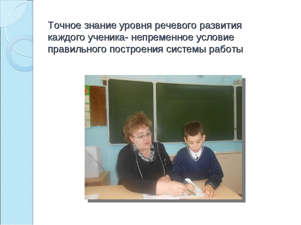 Точное знание уровня речевого развития каждого ученика- непременное условие п...