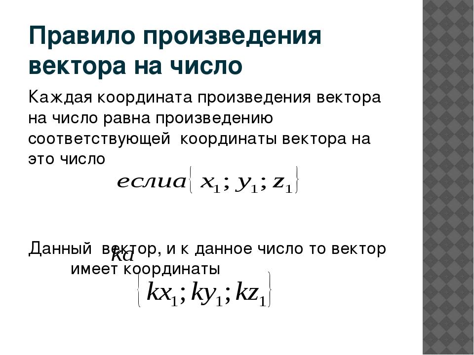 Правило произведения вектора на число Каждая координата произведения вектора...