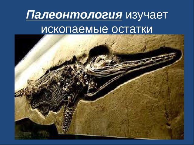 Палеонтологияизучает ископаемые остатки организмов.