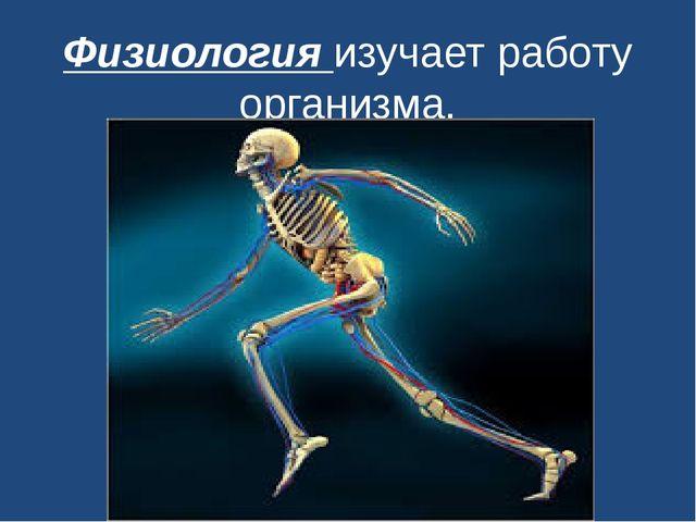 Физиологияизучает работу организма.