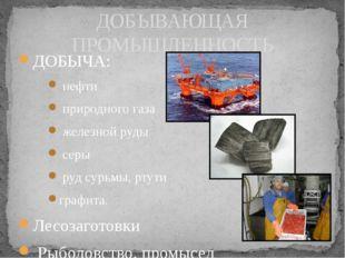 ДОБЫЧА: нефти природного газа железной руды серы руд сурьмы, ртути графита.
