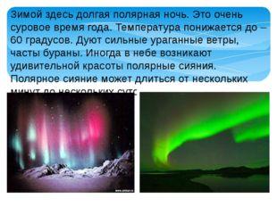 Зимой здесь долгая полярная ночь. Это очень суровое время года. Температура п