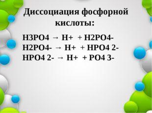 Диссоциация фосфорной кислоты: Н3РО4 → Н+ + Н2РО4- Н2РО4- → Н+ + НРО4 2- НРО4