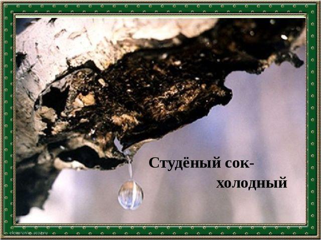 Текст слайда Студёный сок- холодный