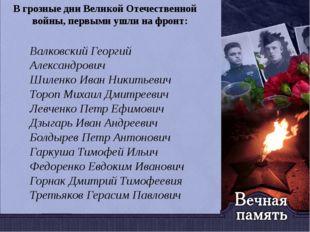 В грозные дни Великой Отечественной войны, первыми ушли на фронт: Валковский