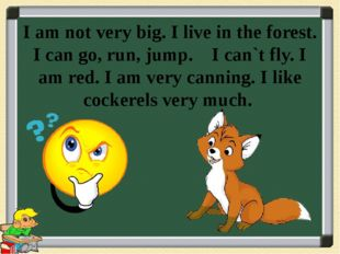 I am not very big. I live in the forest. I can go, run, jump. I can`t fly. I