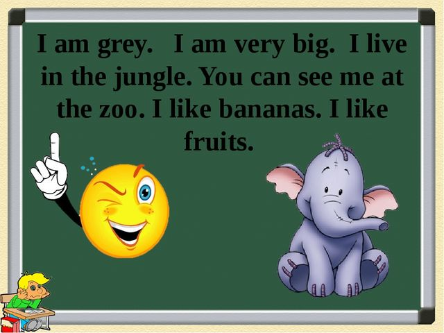 I am grey. I am very big. I live in the jungle. You can see me at the zoo. I...