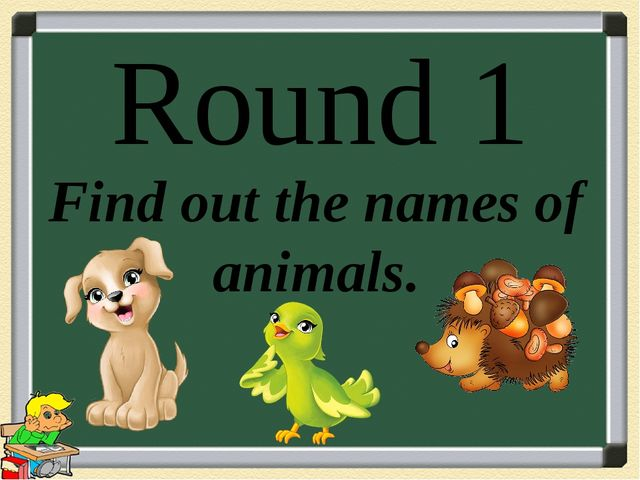 Round 1 Find out the names of animals.