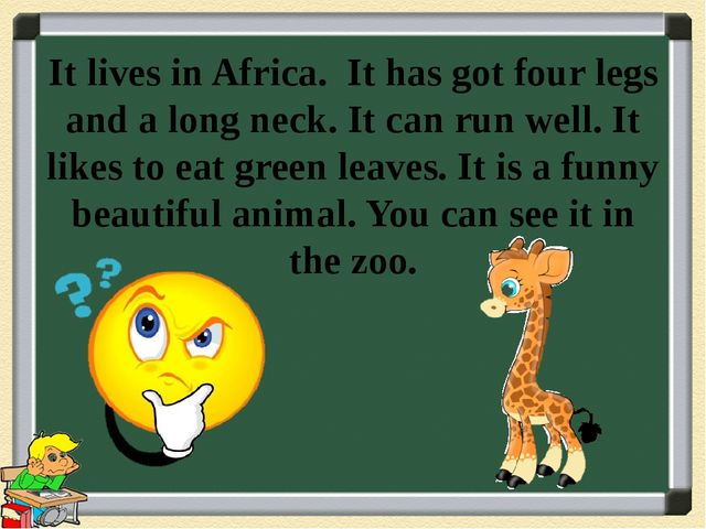 It lives in Africa. It has got four legs and a long neck. It can run well. It...