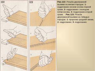 Рис.122. Резьба двухгранной выемки на мягких породах: 1- надрезание носком ко