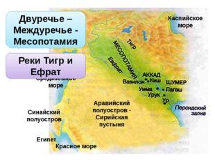 Двуречье – Междуречье - Месопотамия Аравийский полуостров - Сирийская пустын