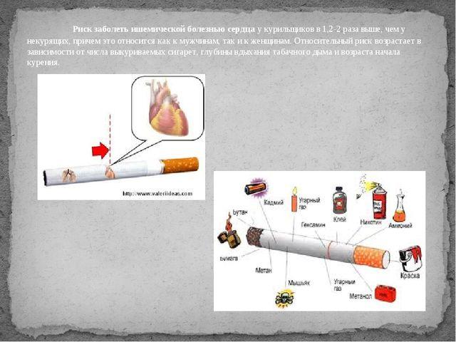 Риск заболеть ишемической болезнью сердцау курильщиков в 1,2-2 раза выше,...