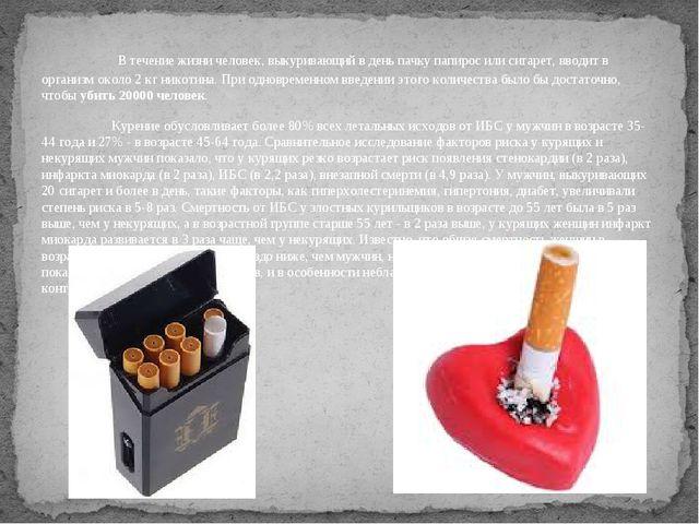 В течение жизни человек, выкуривающий в день пачку папирос или сигарет, вв...